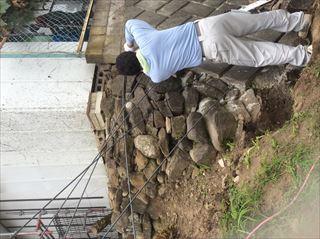 擁壁補強工事鉄筋